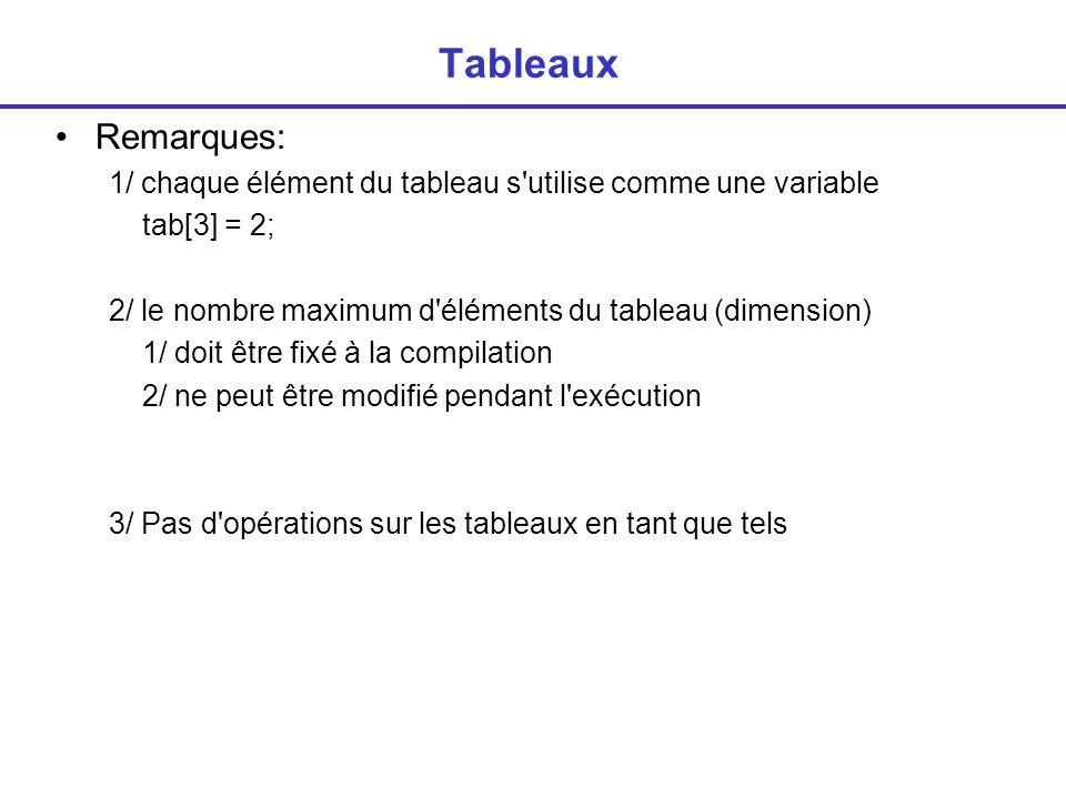 Tableaux Remarques: 1/ chaque élément du tableau s utilise comme une variable. tab[3] = 2; 2/ le nombre maximum d éléments du tableau (dimension)